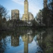 Reflection of skyscrapers in Central Park pond, New York city — Stock Photo