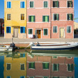 Canal, boats and reflections, Burano, Italy — Stock Photo #33289891