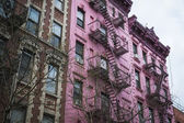 Pink apartment building, New York City — Stock Photo