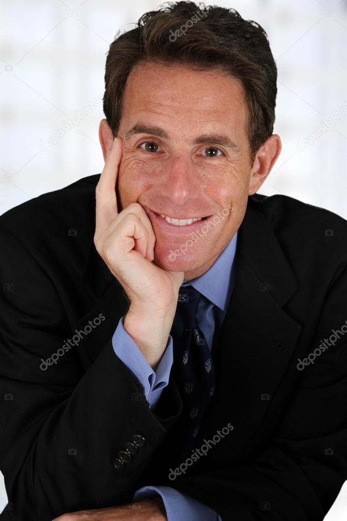 Caucasian business man working in his office — Stock Photo #13143566