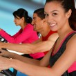 Riding Bikes In Gym — Stock Photo