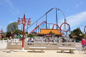 Chineese stile Roller coaster in the Port Aventura — Stock Photo