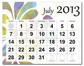 July 2013 calendar — Stock Vector
