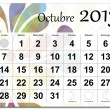 Spanish version of October 2013 calendar — Stock Vector