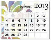 Spanish version of February 2013 calendar — Stock Vector