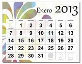 Spanish version of January 2013 calendar — Stock Vector