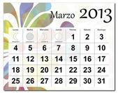 Spanish version of March 2013 calendar — Stock Vector