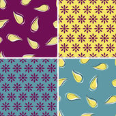 Vector set of four seamless pattern with floral decoration — Vector de stock