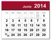 June 2014 calendar — Stock Vector
