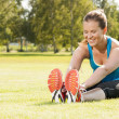 Stock Photo: Happy womjogger training in park. Healthy lifestyle and p