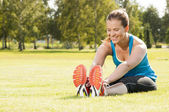 Happy woman jogger training in the park. Healthy lifestyle and p — Photo