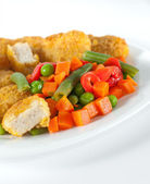Nuggets with salad — Stock Photo