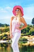 Woman with hat — Stok fotoğraf