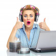 Funny woman in a business — Stock Photo