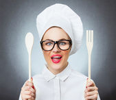 Woman cook, chef — Stock Photo