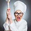 Angry woman cook — Stock Photo