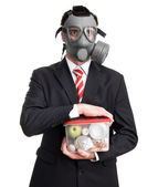 Business man with gas mask — Stock Photo