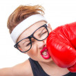 Stock Photo: Funny fitness woman