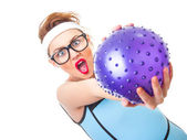 Funny fitness woman — Stock Photo