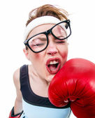 Funny fitness woman with boxing gloves, isolated on white — Stock Photo