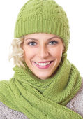 Woman with winter clothing — Stockfoto