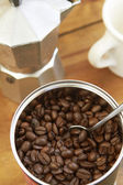 Overhead View Of Coffee Beans, Cafetiere And Mug — Stock Photo
