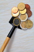 COINS ON A SHOVEL. — Stock Photo
