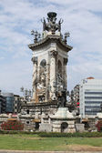 Barcelona. socha na náměstí plaza catalunya. — Stock fotografie