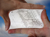 Window from hands - blueprint — Stock Photo