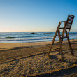 Lifeguard chair on empty beach — Stock Photo