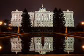 Night view of the Royal Palace of Madrid — Stock Photo