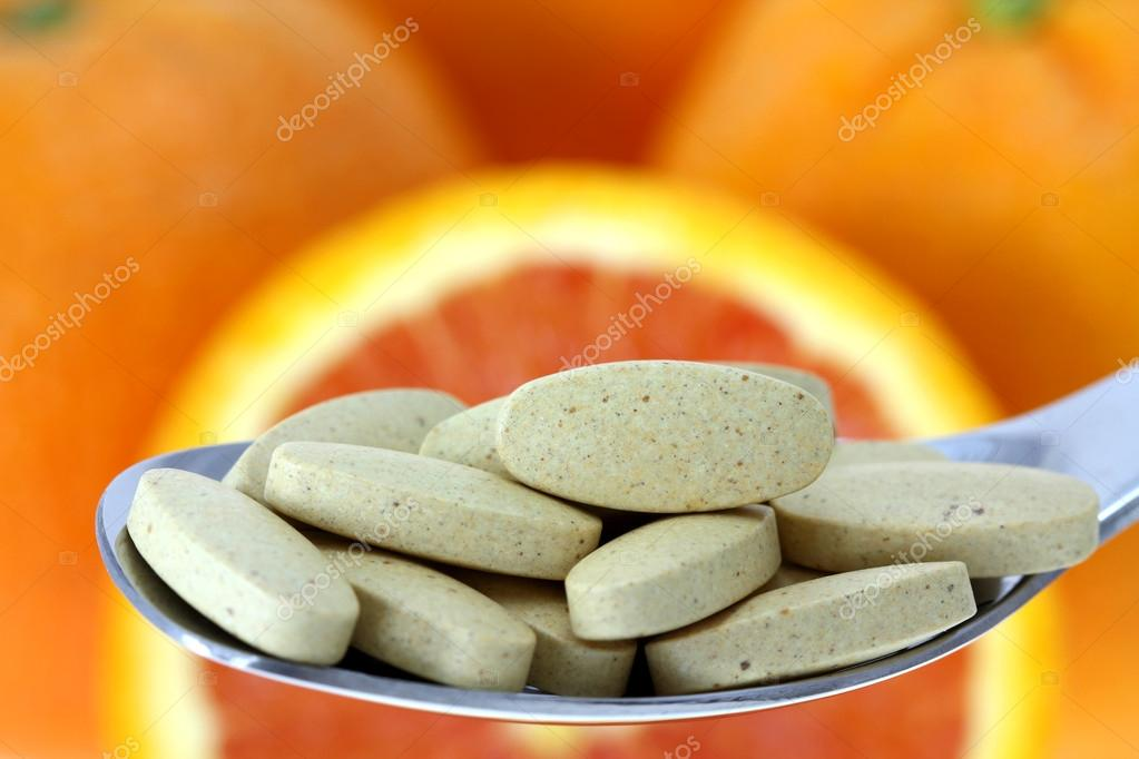 comprimidos revestidos de vitamina c — Foto Stock © sasimoto ...