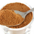 Closeup photo : a tablespoon of chocolate (cocoa) Powder — Stock Photo