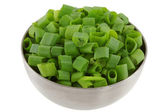 Bowls of Chopped Spring Onion — Stock Photo