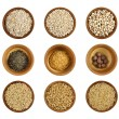 Assortment of wholesome ingredient in a wooden bowl — Stock Photo