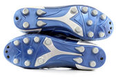 Blue Soccer (football) boots,shoes with 12 studs — Foto de Stock
