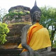Old Buddha image sitting in front of stupa in Ayutthaya, Thailand — Stock Photo #28707101