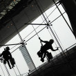 Stock Photo: Window Cleaners (Window washers) working