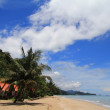 Stock Photo: Tropical bungalow along beach