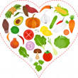 Vegetables icons inside a Heart — Stock Vector