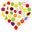 Fruit icons inside a Heart — Stock Vector