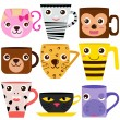 Vector de stock : Coffee Cup and Mug with different animal patterns