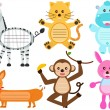 Set of Cute Animal Icons — Stock Vector