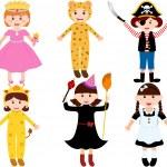 Set of cartoon female kids — Stock Vector #28965683
