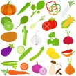 Fruit and vegetables Icons — Stock Vector