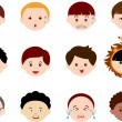 Icons: Heads of Boys, Men, Kids — ベクター素材ストック