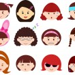 Icons : Heads of Girls, Women, Kids — Stock Vector