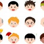 PrintIcons: Heads of Boys, Men, Kids — Stock Vector #28967091