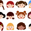 Icons : Heads of Girls, Women, Kids — Stock Vector #28967101