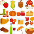 Icons : Autumn, Fall Theme — Stock Vector